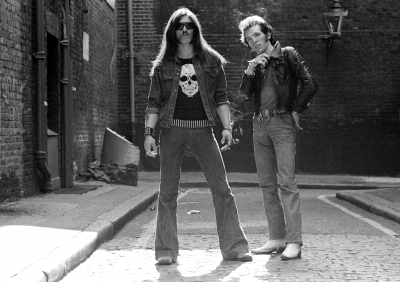 Lemmy with original Motörhead drummer Lucas Fox in 1975, 10 years before the band destroyed RC boss Derek's hearing!